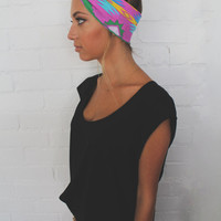 Turban Headband -- Pink Tribal