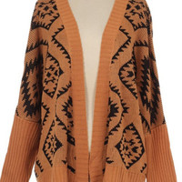 Aztec Print Open Sweater