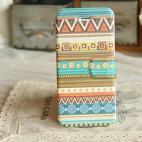 Bohemia Stripes Folk Ethnic Style Vintage Cover Stand for iPhone 5