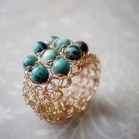 Turquoise And Gold Crochet Ring 
