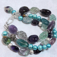 Rainbow Fluorite Bracelet with Amethyst and Freshwater Pearls