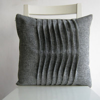 Pleated Grey / Gray  16 X 16 Cushion Cover
