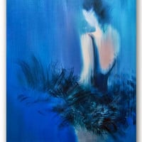 Ballet Dancer Art Giclee Print Blue Canvas Art of original oil painting