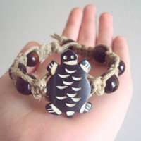Turtle Hemp Bracelet Wood Beaded Macrame Carved Bone Bead