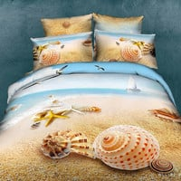 Duvet Cover Set 100% cotton 4 pc Queen Bedding Set Beautiful Beach bed linen Lovers Duvet/Quilt covers setDuvet Covers King / Queen