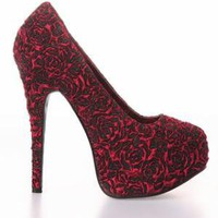 Bordello Teeze Red Roses Platform Heel Shoes - Black / Red - Punk.com