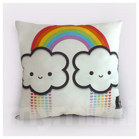 Rainbow Cloud, Rainbow Pillow, Throw Pillow, Kawaii Print, Toy Pillow, Rainbow Birthday Gift, Rainbow Decor, 16 x 16""