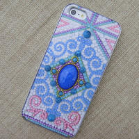 Gem Stone Centre Exotical Pattern Handmade Case for iPhone 5