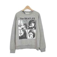 The Beatles Black-and-white Headshot Women's Cotton Loose Pullover Sweater