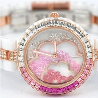 Luxury Ladies Women's Rhinestone Flower Watch Color White