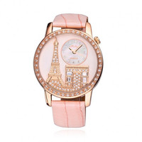 MELLISA Luxury Rhinestone-studded Eiffel Tower Leather Ladies Watch