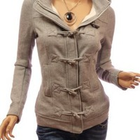 Amazon.com: Patty Women Casual Hooded Zip Toggle Closure Jacket: Clothing