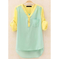 A 081906 aaa OL temperament long-sleeved shirt contrast color chiffon shirt