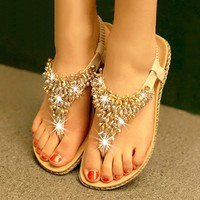 A 071101 Simple fashion color matching diamond beads flat sandals