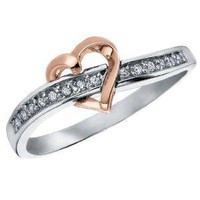 Amazon.com: Diamond Heart Promise Ring in 10K White and Pink Gold, Size 5: Jewelry