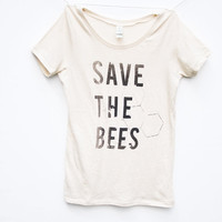 Save the Bees Shirt  Womens Scoop Neck  Natural White by naturwrk