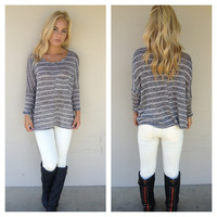 Grey Stripe Knit Pocket Top