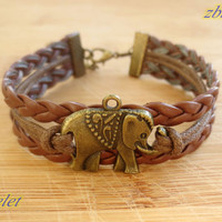 elephant bracelet,retro bronze lovely elephant pendant bracelet,brown leather bracelet---B291