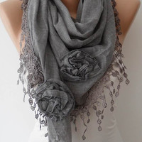 Autumn Scarf - Milky Brown Scarf with Roses - Cotton Scarf with Trim Edge - Big Triangular