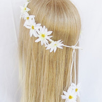 Daisy crown floral headband edc hippie bridal beach woodland wedding women hair accessories