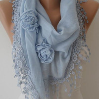 Autumn Scarf - Sky Blue Scarf with Roses - Cotton Scarf with Trim Edge - Big Triangular