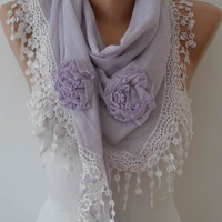 Autumn Scarf - Lilac Scarf with Roses - Cotton Scarf with Trim Edge - Big Triangular