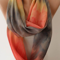 Batik Infinity - Circle -  Loop Scarf - Orange and Gray - Silk Chiffon Fabric