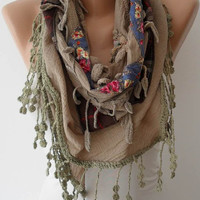 Bohemian Scarf - Light Brown and Flowered Cotton Fabric with Trim Edge