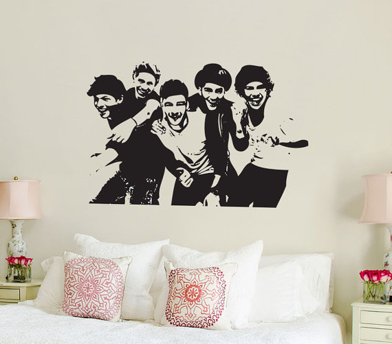 one direction 1d silhouette vinyl wall from wallkrafted on etsy. Black Bedroom Furniture Sets. Home Design Ideas
