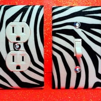 Set of 2 Zebra Print Wall Plates Any Style by ELECTRIKKRAYON