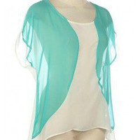 SHEER CHIFFON COLOR BLOCK TOP-Dressy-Womens Dressy Tops,Dressy Top For Women,Fashion Dressy Tops,Trendy Dressy Tops,Promo Dressy Tops