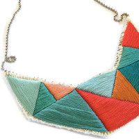 Geometric bib necklace in bright greens coral by AnAstridEndeavor