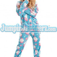 Cup Cakes - Hooded Footed Pajamas - Pajamas Footie PJs Onesuits One Piece Adult Pajamas - JumpinJammerz.com