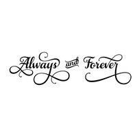 Always and Forever wall decal decorative wall decal. Wall Decal Words Quote Sticker  WW3035