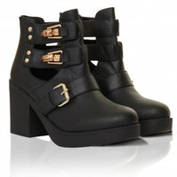 Black & Gold Detail Cut Out Block Heel Leather Look Boots