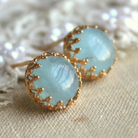 Aquamarine gemstone stud earrings Gold crown christmas gift  - 14k Gold filled Blue seafoam aquamarine stone.
