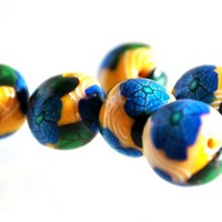 Blue Flower Beads on Yellow Polymer Clay Handmade with White Swirls
