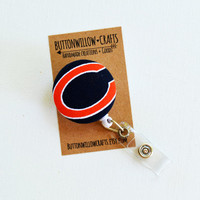 Fabric Button ID Badge Reel, Retractable Lanyard, Nurses, Birthday, Key Card, Handmade Sports Badge Reel, Bears, Chicago Bears, NFL,Football