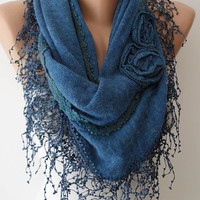 Autumn Scarf - Blue Scarf with Roses - Knit Tricot Fabric  Scarf with Trim Edge -