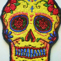 Embroidered Sugar Skull Iron on Patch, Applique Day of the Dead, Gothic,
