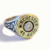Winchester Bullet Ring 45 Auto Gorgeous mixed metals adjustable