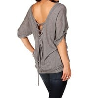 H. Gray Lace Up Back Top