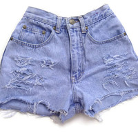 High Waisted Denim Shorts Size 00 Vintage Jean Shorts