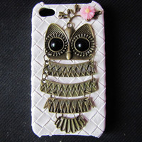 iphone 4s case antique bronze owl and flower white by braceletcool