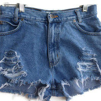 High Waisted Denim Shorts Size 2-3 Vintage