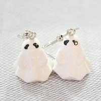 Hallween cute ghost earrings on silver tone wires
