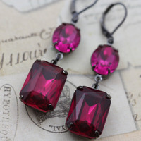 Dark Pink Earrings Bright Fuchsia Long Vintage Glass Earrings Gunmetal Crystal Earrings Bridal Jewelry Bridesmaids Earrings Wedding Earrings