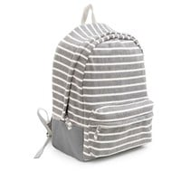 Poketo Striped Fleece Backpack - Light Grey