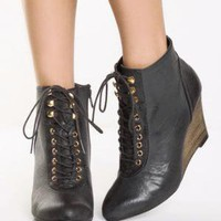Qupid Ophelia 01 Black Burnished Wedge Ankle Boots - $31.00