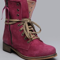 Hanna Combat Boot - Berry - What's New | GYPSY WARRIOR